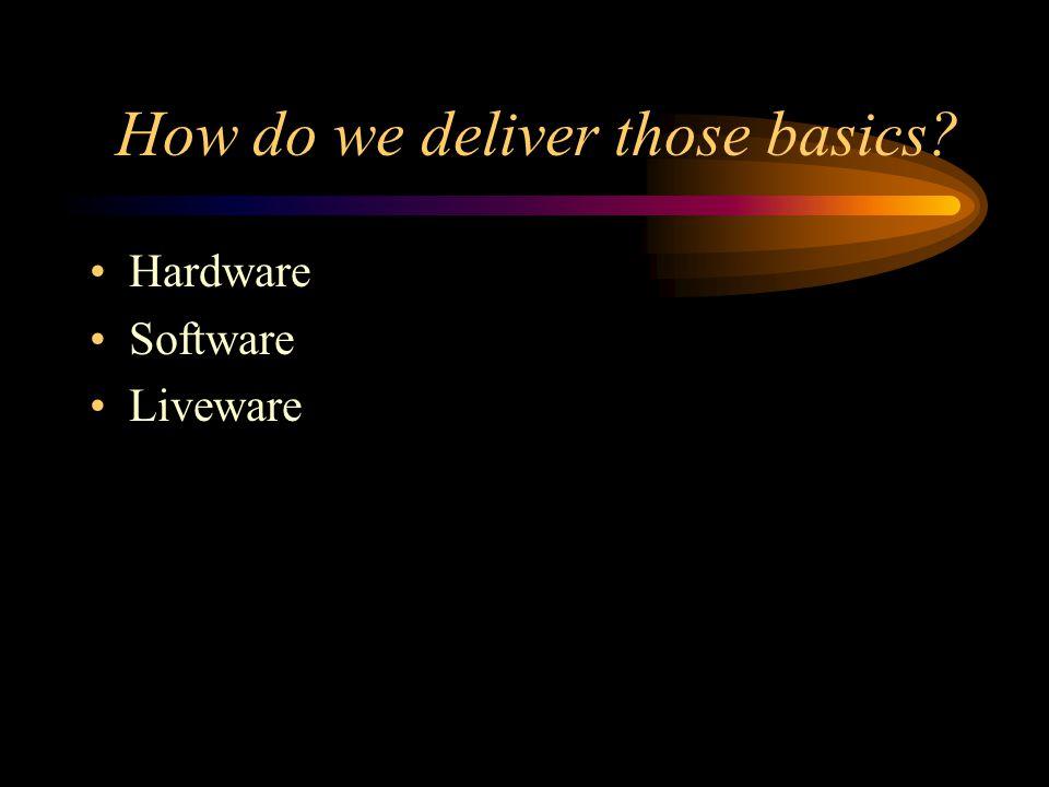 How do we deliver those basics Hardware Software Liveware