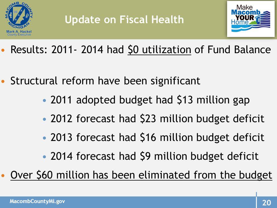 MacombCountyMi.gov 20 Update on Fiscal Health Results: 2011- 2014 had $0 utilization of Fund Balance Structural reform have been significant 2011 adopted budget had $13 million gap 2012 forecast had $23 million budget deficit 2013 forecast had $16 million budget deficit 2014 forecast had $9 million budget deficit Over $60 million has been eliminated from the budget
