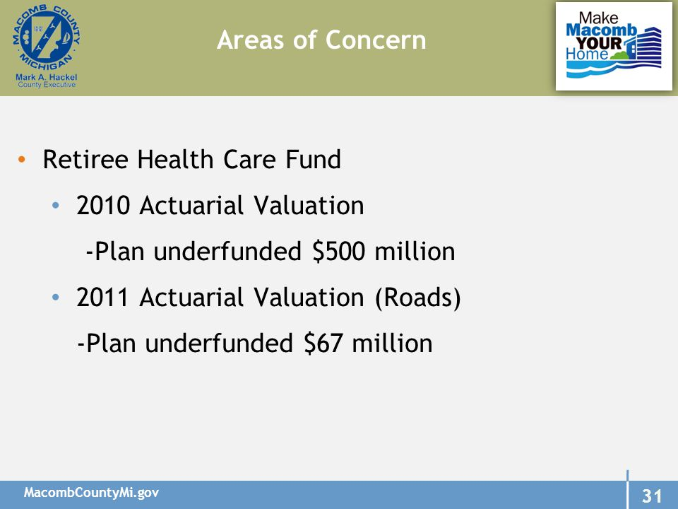 MacombCountyMi.gov 31 Retiree Health Care Fund 2010 Actuarial Valuation -Plan underfunded $500 million 2011 Actuarial Valuation (Roads) -Plan underfunded $67 million Areas of Concern