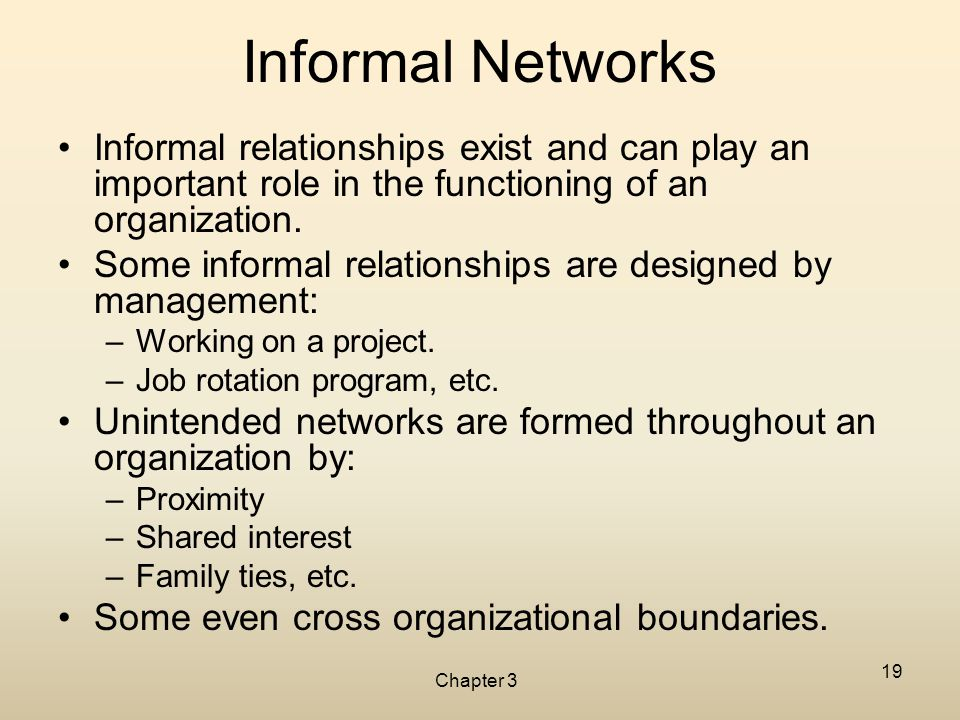 Chapter 3 19 Informal Networks Informal relationships exist and can play an important role in the functioning of an organization. Some informal relati