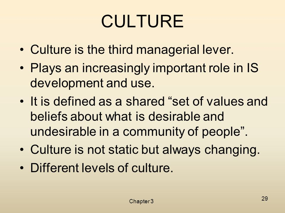 Chapter 3 29 CULTURE Culture is the third managerial lever. Plays an increasingly important role in IS development and use. It is defined as a shared