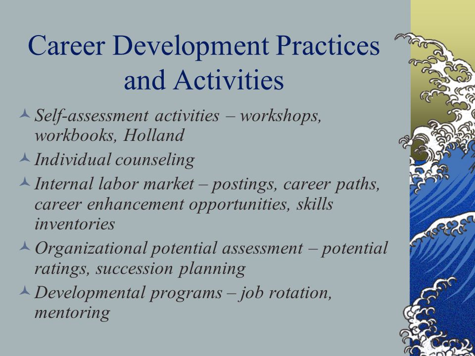 Career Development Practices and Activities Self-assessment activities – workshops, workbooks, Holland Individual counseling Internal labor market – p