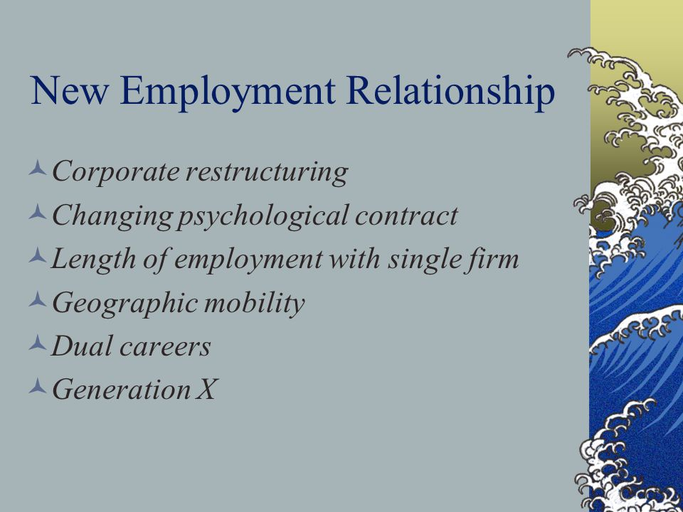 New Employment Relationship Corporate restructuring Changing psychological contract Length of employment with single firm Geographic mobility Dual car