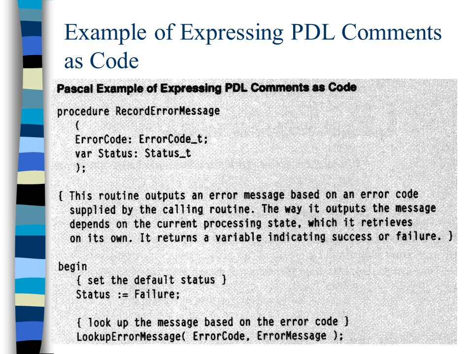 15 Example of Expressing PDL Comments as Code