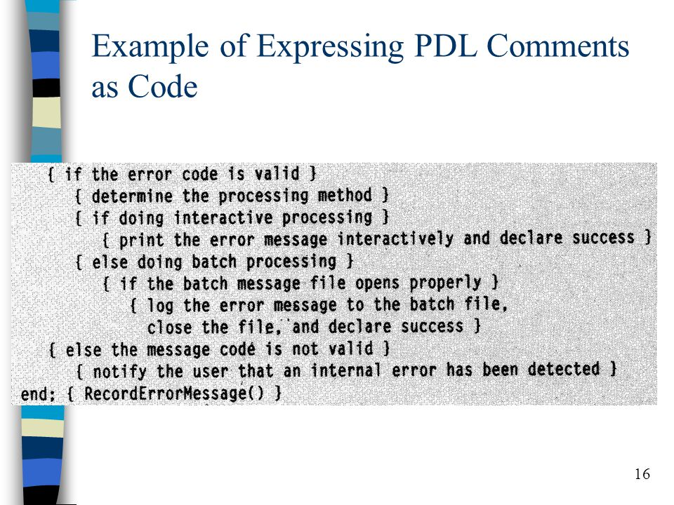 16 Example of Expressing PDL Comments as Code