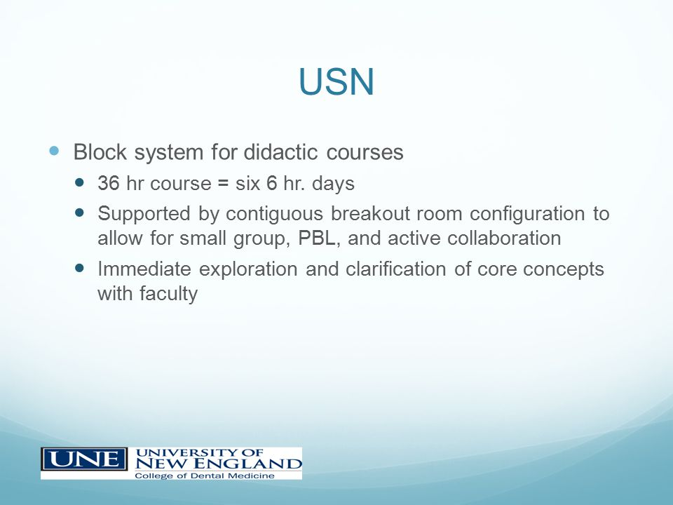 USN Block system for didactic courses 36 hr course = six 6 hr.