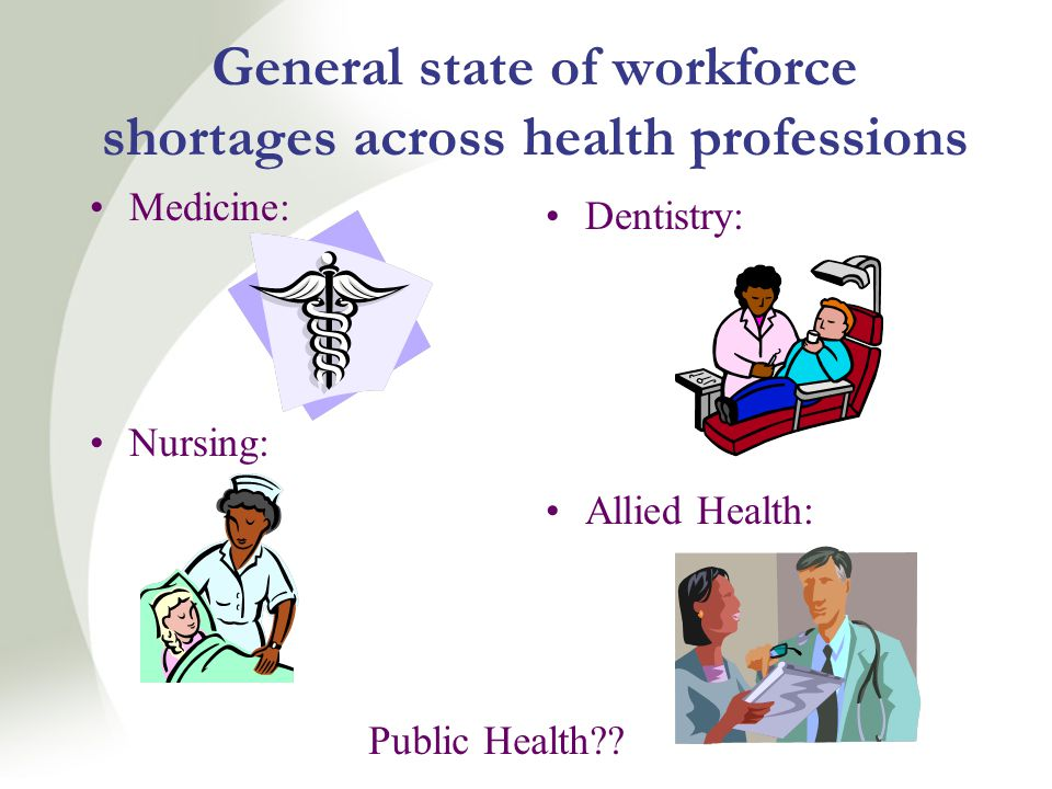 General state of workforce shortages across health professions Medicine: Nursing: Dentistry: Allied Health: Public Health