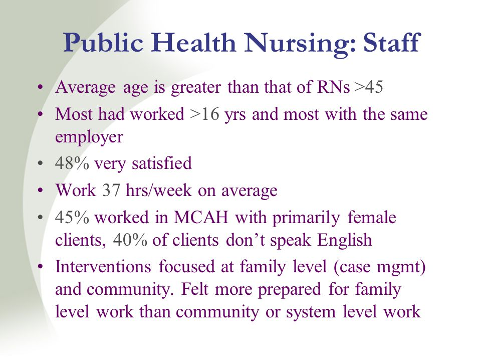 Public Health Nursing: Staff Average age is greater than that of RNs >45 Most had worked >16 yrs and most with the same employer 48% very satisfied Work 37 hrs/week on average 45% worked in MCAH with primarily female clients, 40% of clients don't speak English Interventions focused at family level (case mgmt) and community.