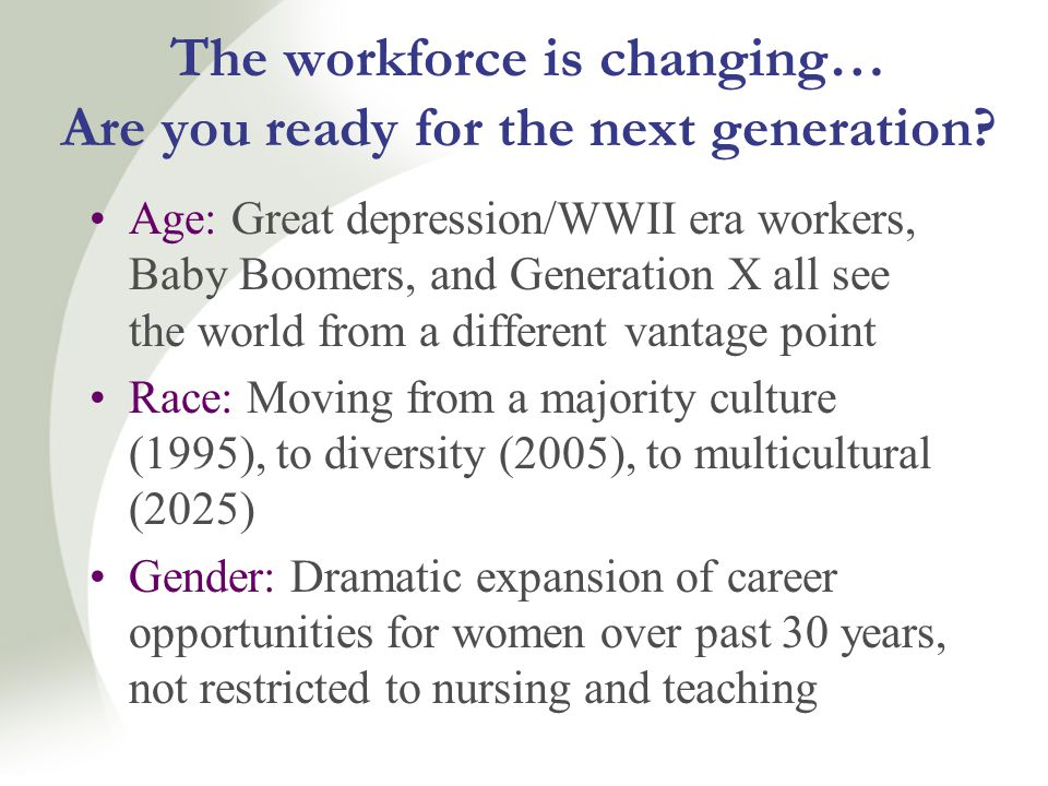 The workforce is changing… Are you ready for the next generation.
