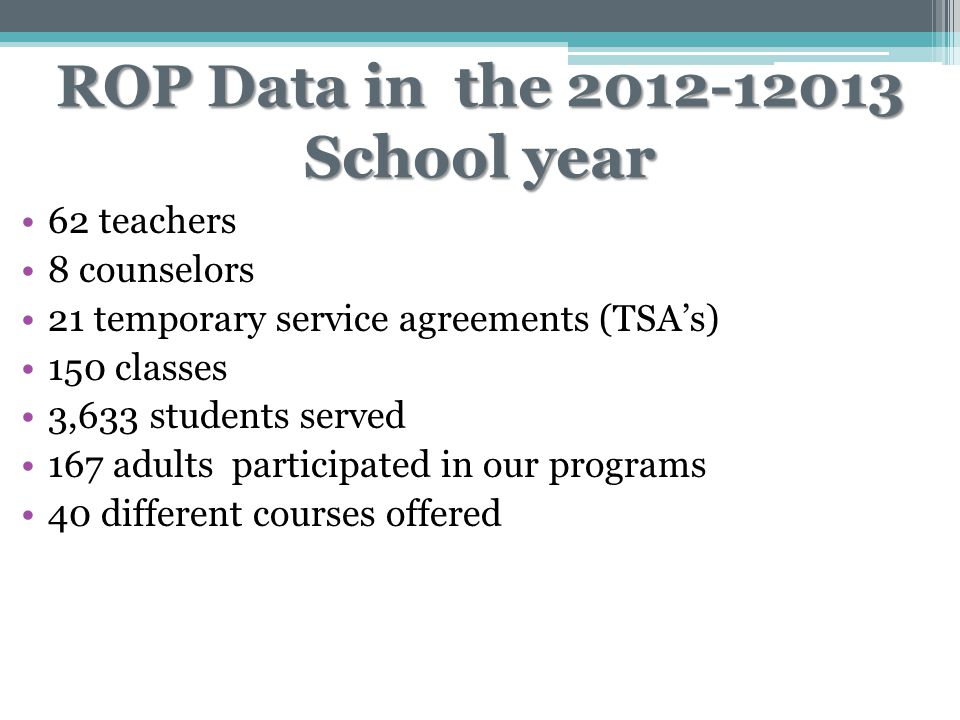 ROP Data in the 2012-12013 School year 62 teachers 8 counselors 21 temporary service agreements (TSA's) 150 classes 3,633 students served 167 adults p