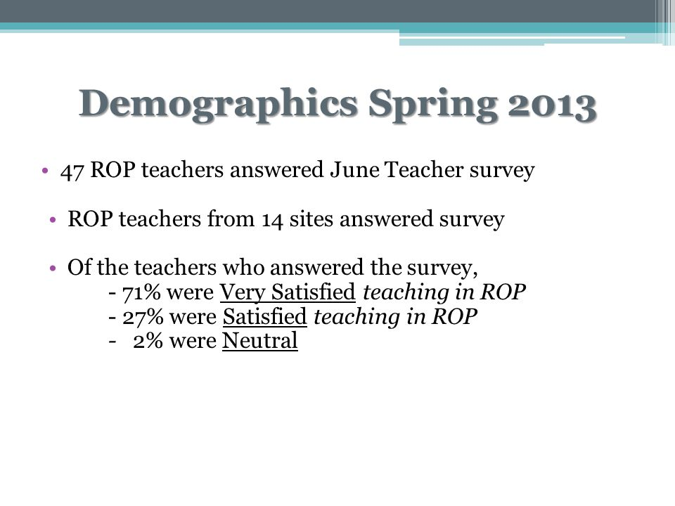 Demographics Spring 2013 47 ROP teachers answered June Teacher survey ROP teachers from 14 sites answered survey Of the teachers who answered the survey, - 71% were Very Satisfied teaching in ROP - 27% were Satisfied teaching in ROP - 2% were Neutral