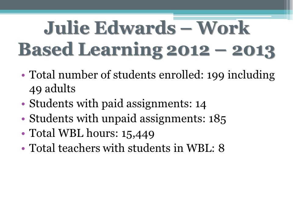Julie Edwards – Work Based Learning 2012 – 2013 Total number of students enrolled: 199 including 49 adults Students with paid assignments: 14 Students with unpaid assignments: 185 Total WBL hours: 15,449 Total teachers with students in WBL: 8