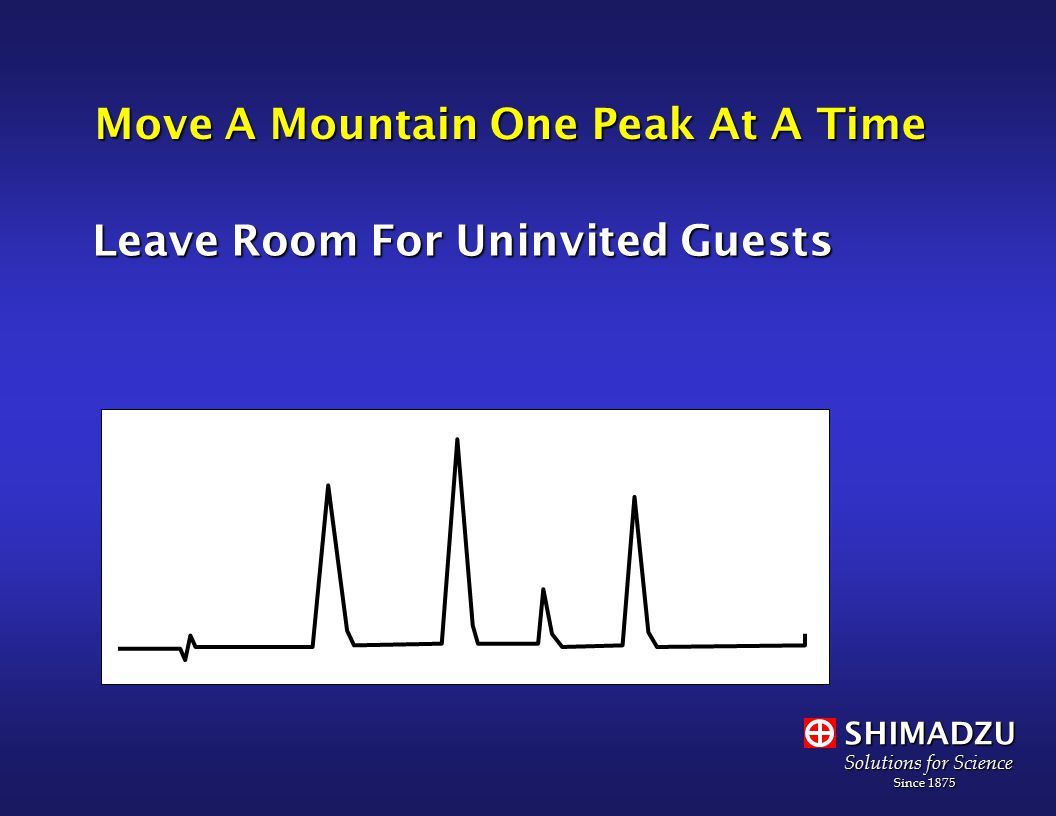 SHIMADZU Solutions for Science Since 1875 Since 1875 Move A Mountain One Peak At A Time Leave Room For Uninvited Guests