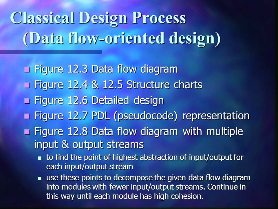 Classical Design Process (Data flow-oriented design) Figure 12.3 Data flow diagram Figure 12.3 Data flow diagram Figure 12.4 & 12.5 Structure charts F