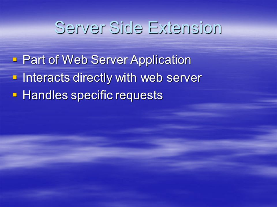Server Side Extension  Part of Web Server Application  Interacts directly with web server  Handles specific requests