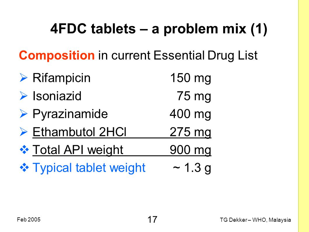17 TG Dekker – WHO, Malaysia Feb 2005 4FDC tablets – a problem mix (1) Composition in current Essential Drug List  Rifampicin150 mg  Isoniazid75 mg  Pyrazinamide400 mg  Ethambutol 2HCl275 mg  Total API weight900 mg  Typical tablet weight~ 1.3 g