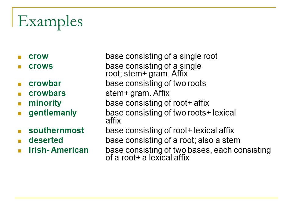 Exercise 4.8 which words consist entirely of roots and/or affixes which are bound morphemes.