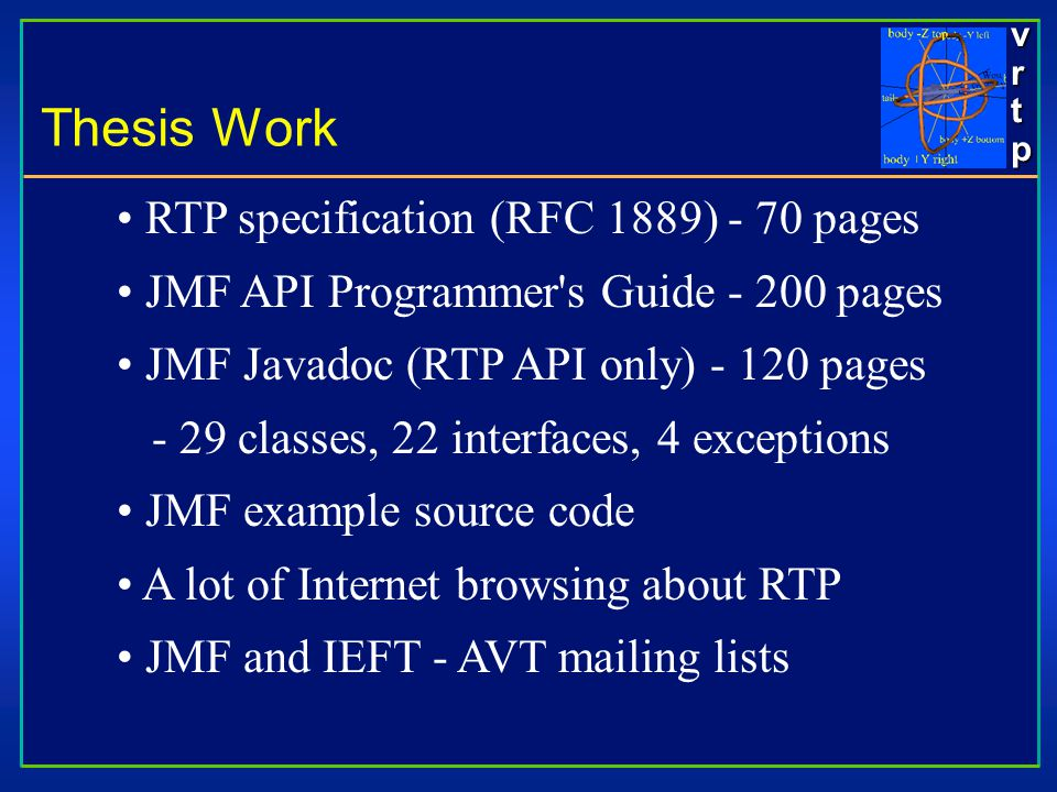 vrtpvrtpvrtpvrtp RTP specification (RFC 1889) - 70 pages JMF API Programmer s Guide - 200 pages JMF Javadoc (RTP API only) - 120 pages - 29 classes, 22 interfaces, 4 exceptions JMF example source code A lot of Internet browsing about RTP JMF and IEFT - AVT mailing lists Thesis Work