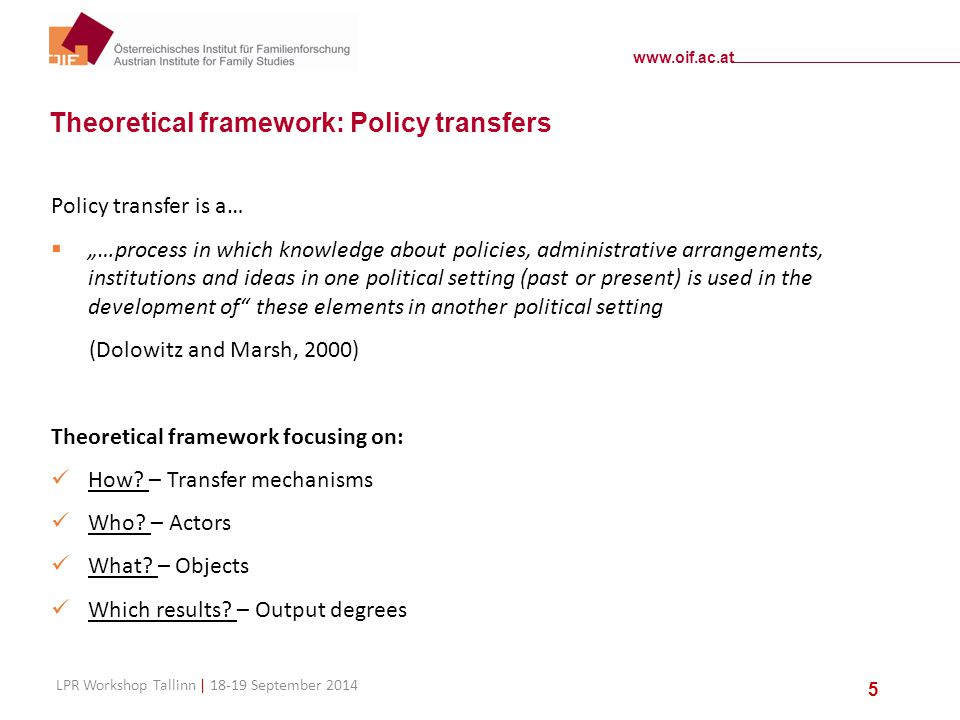 "www.oif.ac.at LPR Workshop Tallinn | 18-19 September 2014 5 Theoretical framework: Policy transfers Policy transfer is a…  ""…process in which knowledge about policies, administrative arrangements, institutions and ideas in one political setting (past or present) is used in the development of these elements in another political setting (Dolowitz and Marsh, 2000) Theoretical framework focusing on: How."