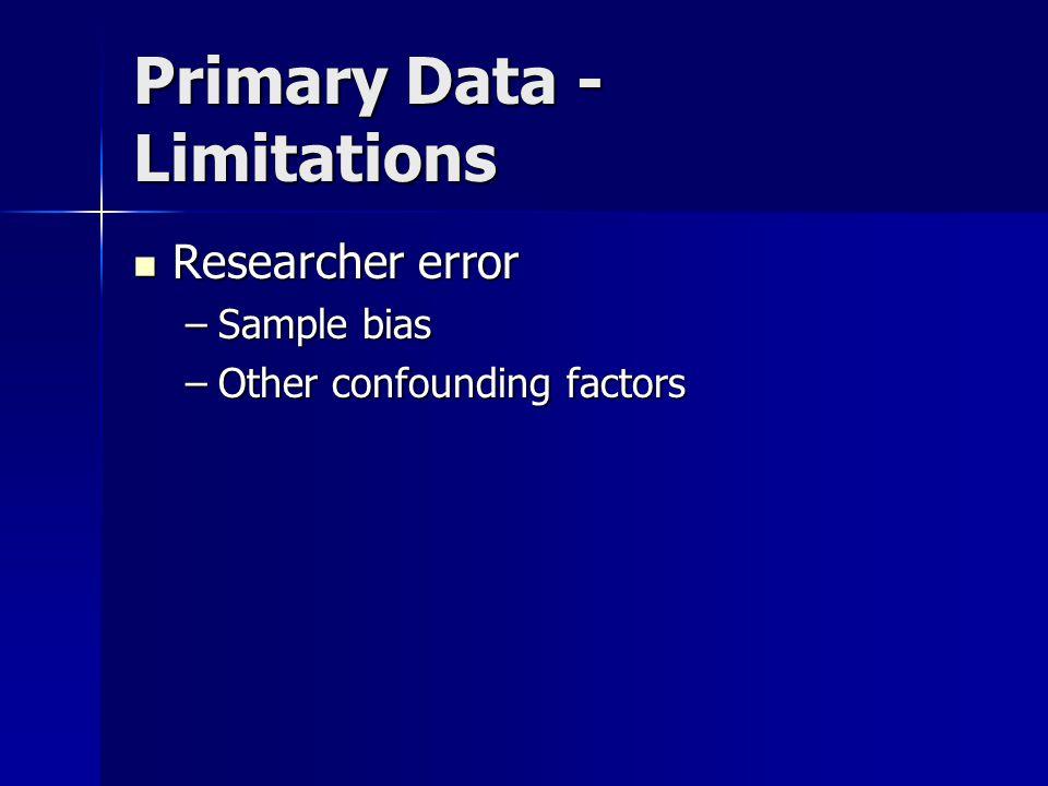 Primary Data - Limitations Researcher error Researcher error –Sample bias –Other confounding factors