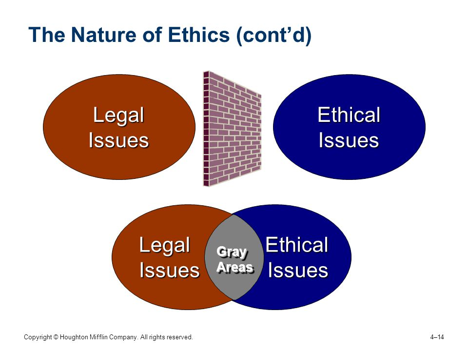 Copyright © Houghton Mifflin Company. All rights reserved. 4–14 The Nature of Ethics (cont'd) Ethical Issues Legal Issues Ethical Issues Legal Issues