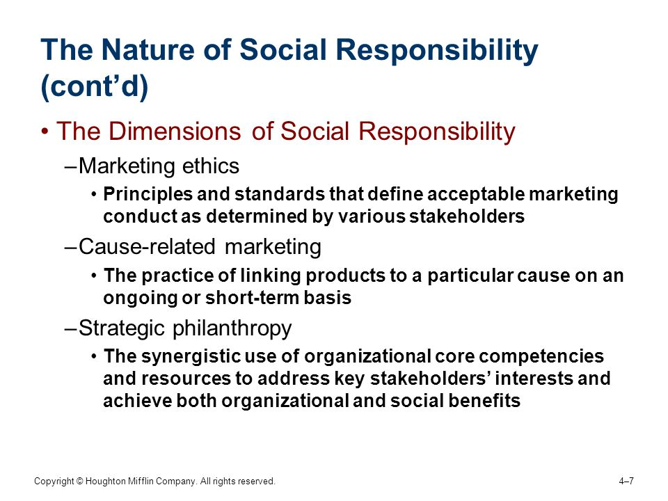 Copyright © Houghton Mifflin Company. All rights reserved. 4–74–7 The Nature of Social Responsibility (cont'd) The Dimensions of Social Responsibility