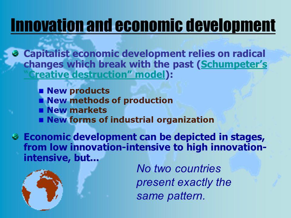 "Innovation and economic development Capitalist economic development relies on radical changes which break with the past (Schumpeter's ""Creative destru"