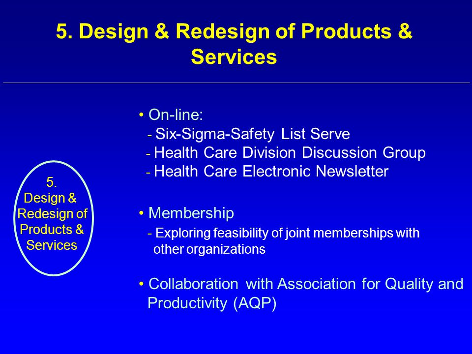 On-line: - Six-Sigma-Safety List Serve - Health Care Division Discussion Group - Health Care Electronic Newsletter 5. Design & Redesign of Products &