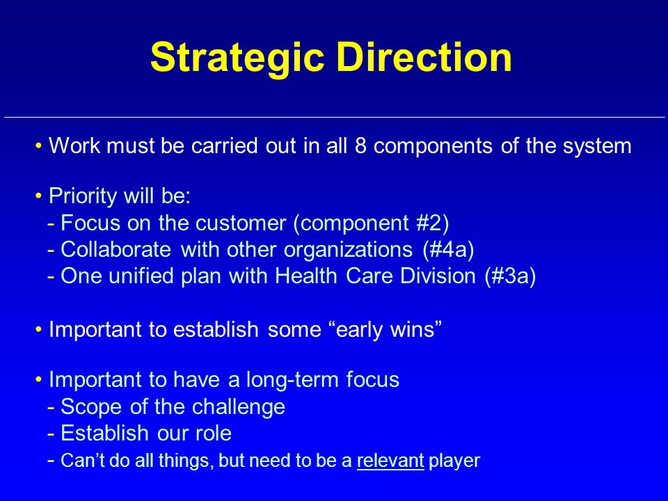 Strategic Direction Work must be carried out in all 8 components of the system Priority will be: - Focus on the customer (component #2) - Collaborate with other organizations (#4a) - One unified plan with Health Care Division (#3a) Important to establish some early wins Important to have a long-term focus - Scope of the challenge - Establish our role - Can't do all things, but need to be a relevant player