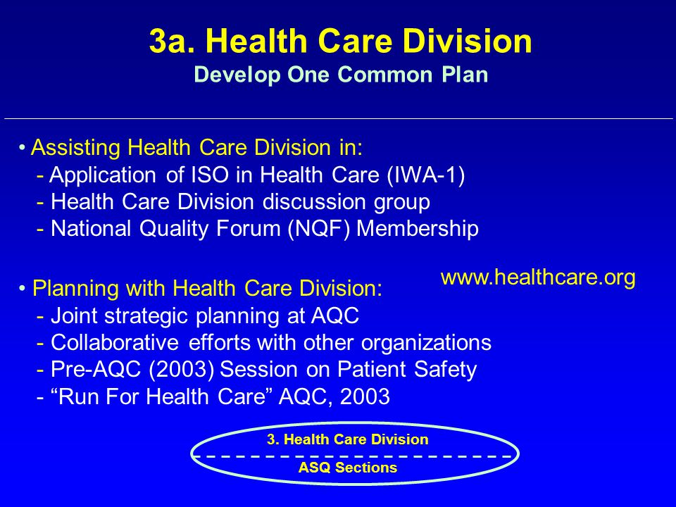 3a. Health Care Division Develop One Common Plan Assisting Health Care Division in: - Application of ISO in Health Care (IWA-1) - Health Care Division