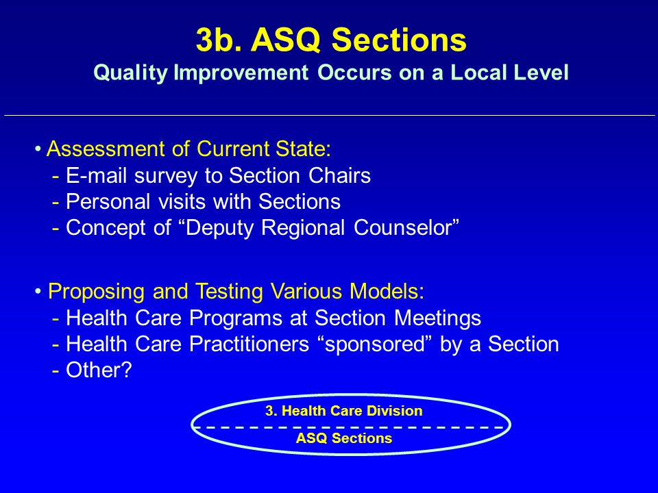 3b. ASQ Sections Quality Improvement Occurs on a Local Level Assessment of Current State: - E-mail survey to Section Chairs - Personal visits with Sec