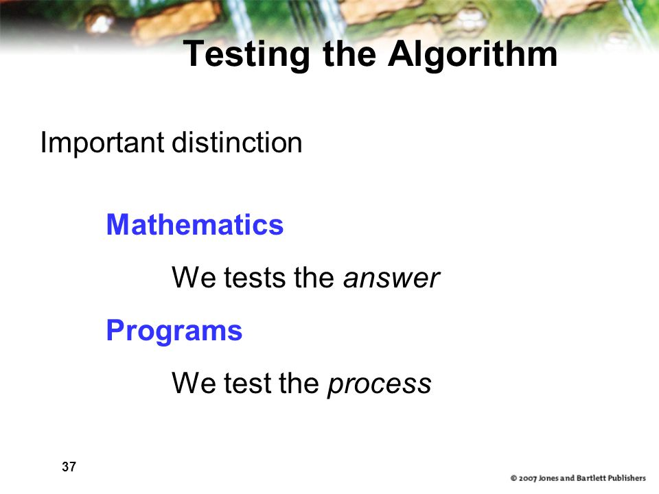 37 Testing the Algorithm Important distinction Mathematics We tests the answer Programs We test the process