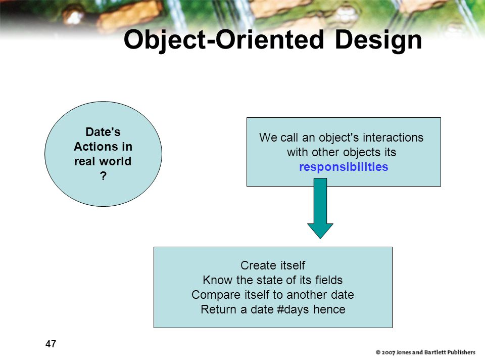 47 Object-Oriented Design Date s Actions in real world .