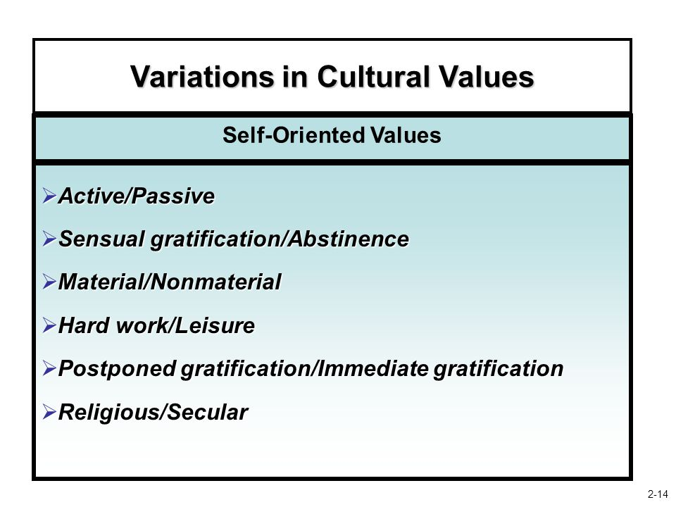 Variations in Cultural Values Self-Oriented Values  Active/Passive  Sensual gratification/Abstinence  Material/Nonmaterial  Hard work/Leisure  Postponed gratification/Immediate gratification  Religious/Secular 2-14