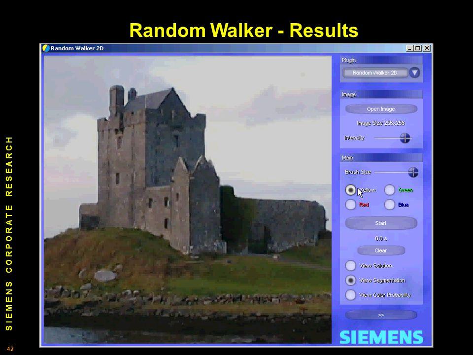 S I E M E N S C O R P O R A T E R E S E A R C H 42 Random Walker - Results