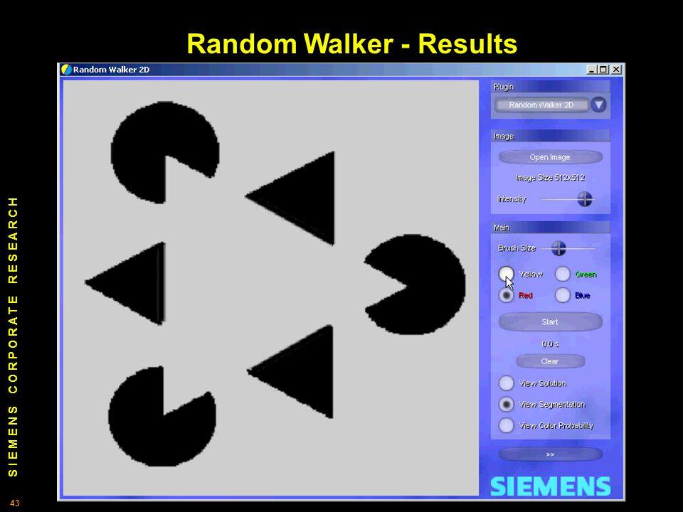 S I E M E N S C O R P O R A T E R E S E A R C H 43 Random Walker - Results