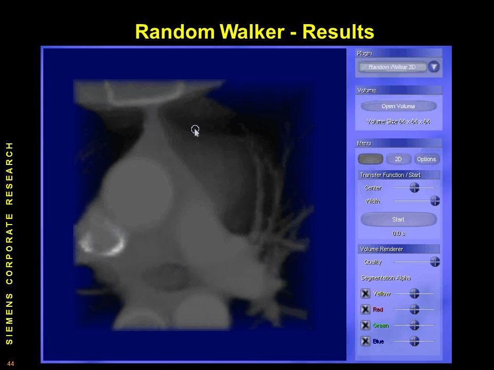 S I E M E N S C O R P O R A T E R E S E A R C H 44 Random Walker - Results