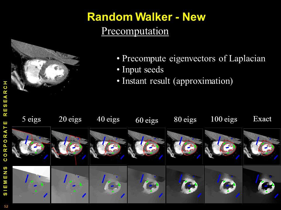 S I E M E N S C O R P O R A T E R E S E A R C H 52 Random Walker - New 5 eigs20 eigs40 eigs 60 eigs 80 eigs 100 eigs Exact Precomputation Precompute eigenvectors of Laplacian Input seeds Instant result (approximation)
