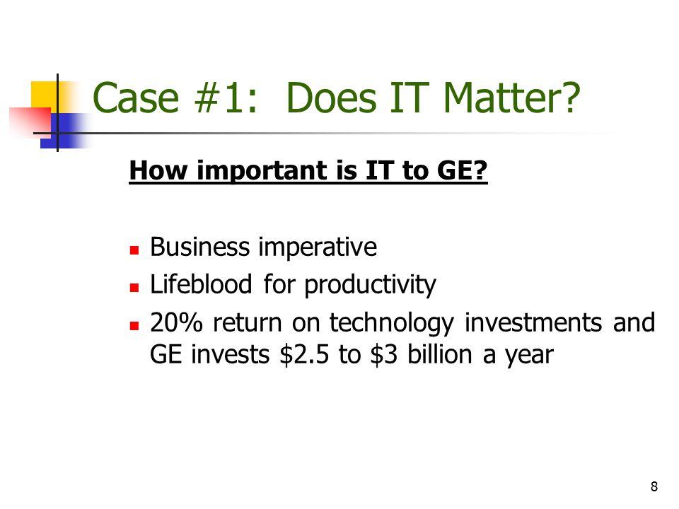 9 Case #1: Does IT Matter.