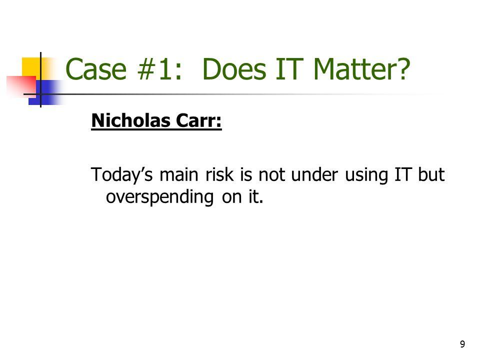10 Case #1: Does IT Matter.