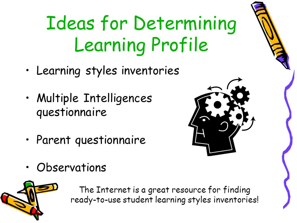 Ideas for Determining Learning Profile Learning styles inventories Multiple Intelligences questionnaire Parent questionnaire Observations The Internet