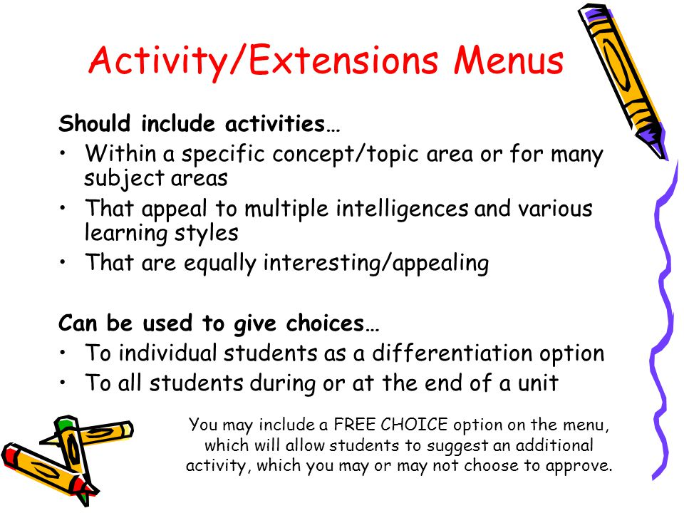 Activity/Extensions Menus Should include activities… Within a specific concept/topic area or for many subject areas That appeal to multiple intelligen