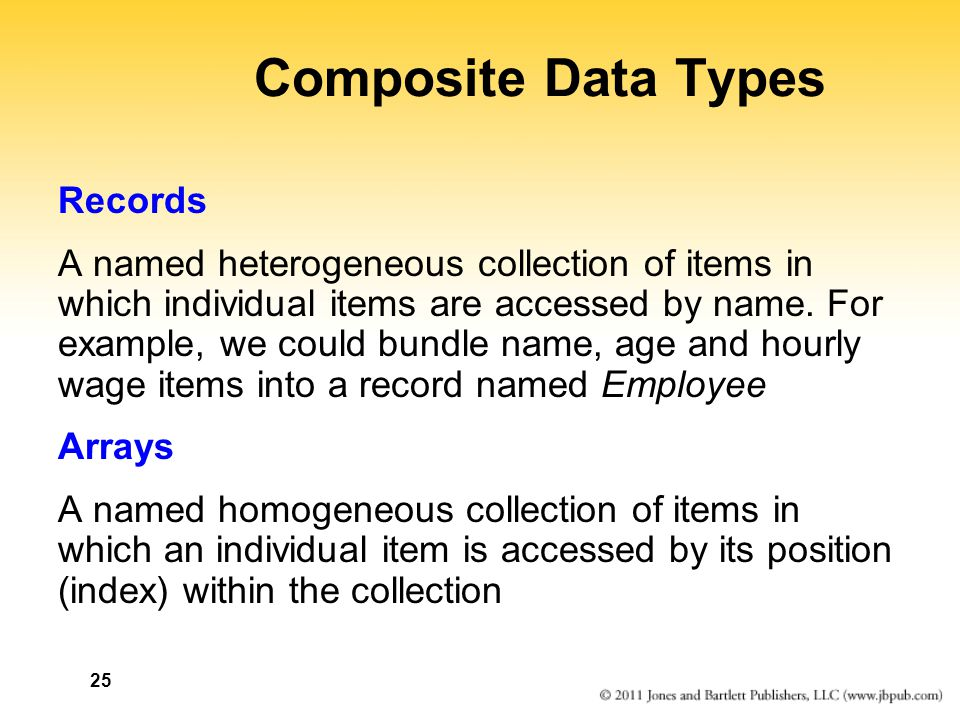 25 Composite Data Types Records A named heterogeneous collection of items in which individual items are accessed by name. For example, we could bundle
