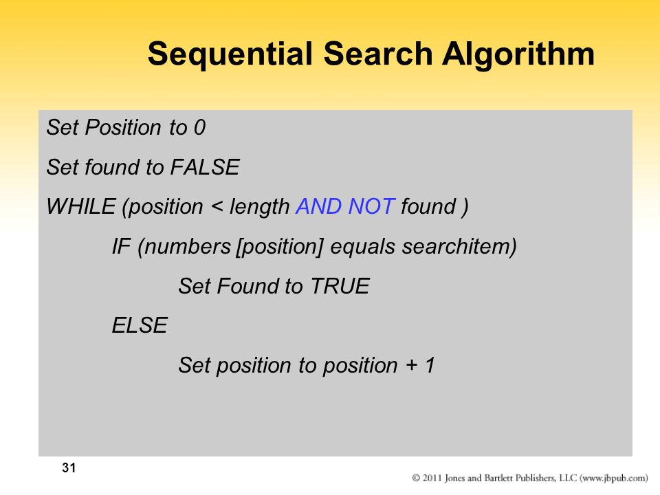 Sequential Search Algorithm Set Position to 0 Set found to FALSE WHILE (position < length AND NOT found ) IF (numbers [position] equals searchitem) Se