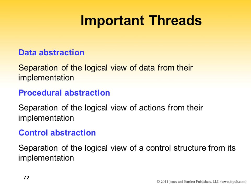 72 Important Threads Data abstraction Separation of the logical view of data from their implementation Procedural abstraction Separation of the logica