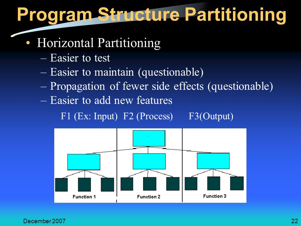 December 200722 Program Structure Partitioning Horizontal Partitioning –Easier to test –Easier to maintain (questionable) –Propagation of fewer side e