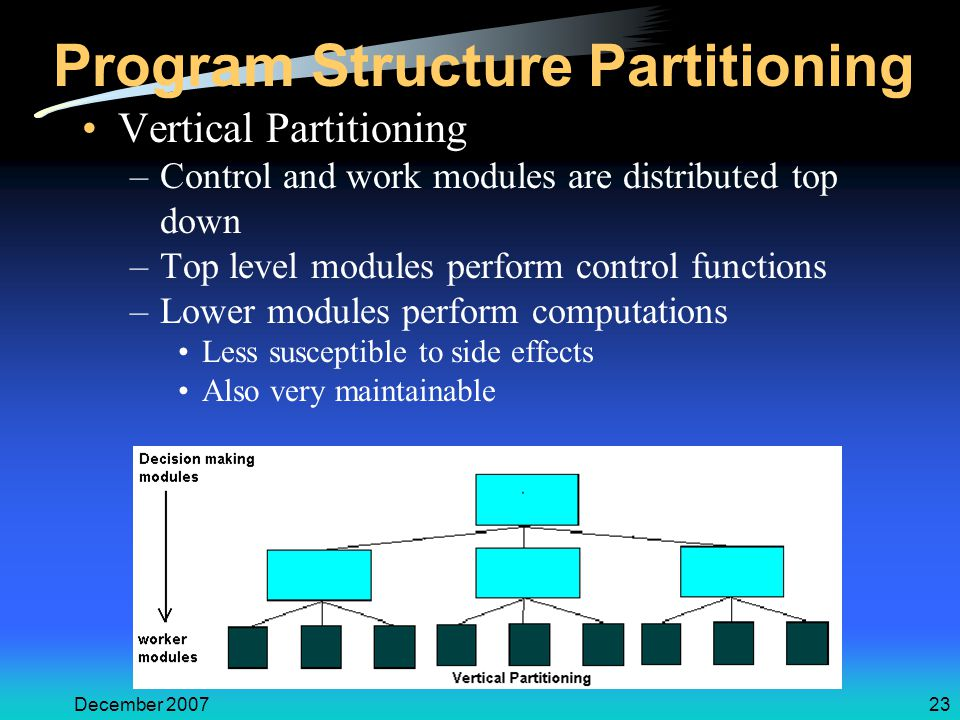 December 200723 Program Structure Partitioning Vertical Partitioning –Control and work modules are distributed top down –Top level modules perform control functions –Lower modules perform computations Less susceptible to side effects Also very maintainable
