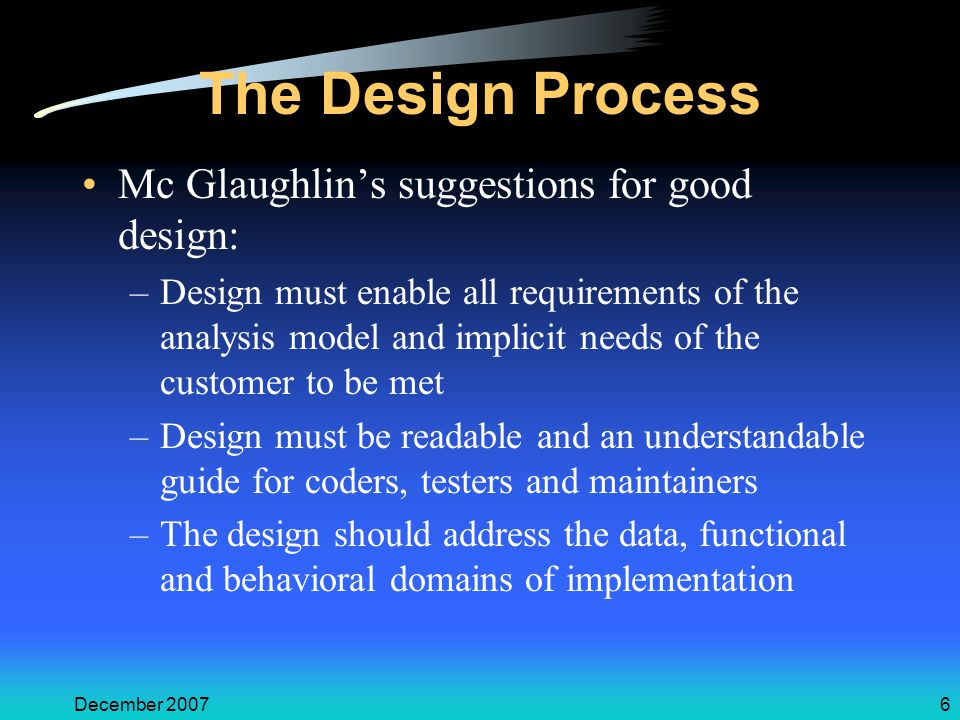 December 20076 The Design Process Mc Glaughlin's suggestions for good design: –Design must enable all requirements of the analysis model and implicit