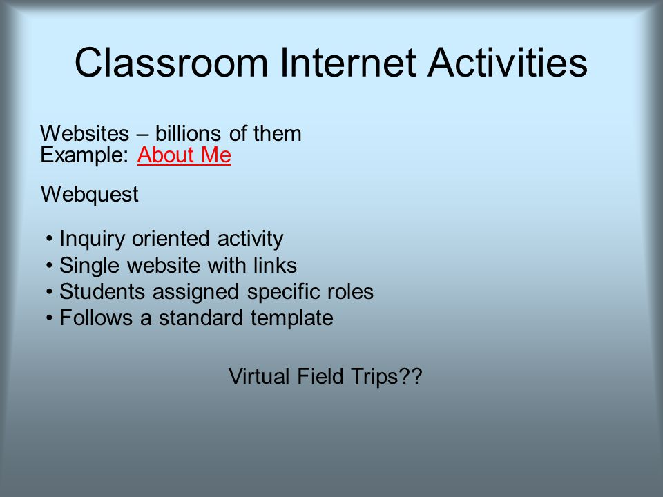 Classroom Internet Activities Websites – billions of them Example: About MeAbout Me Webquest Inquiry oriented activity Single website with links Students assigned specific roles Follows a standard template Virtual Field Trips