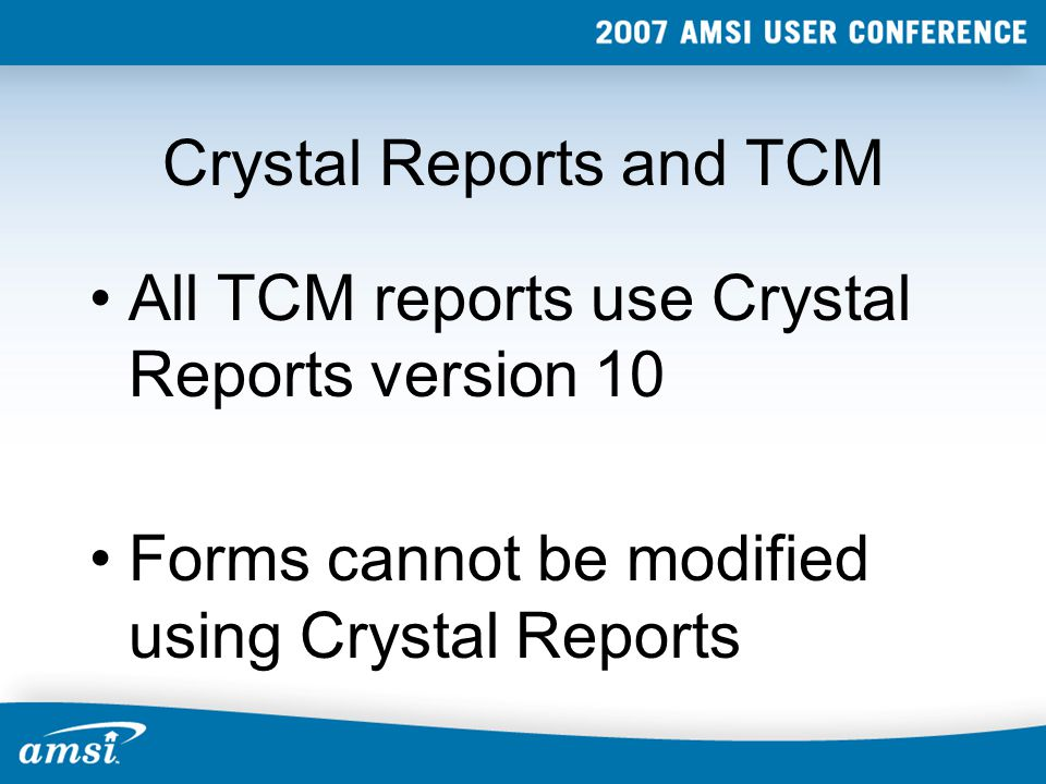 Crystal Reports and TCM Existing report names and location